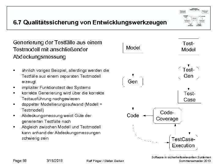 6. 7 Qualitätssicherung von Entwicklungswerkzeugen Generierung der Testfälle aus einem Testmodell mit anschließender Abdeckungsmessung