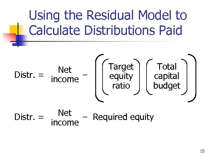 Using the Residual Model to Calculate Distributions Paid Net Distr. = income – Distr.