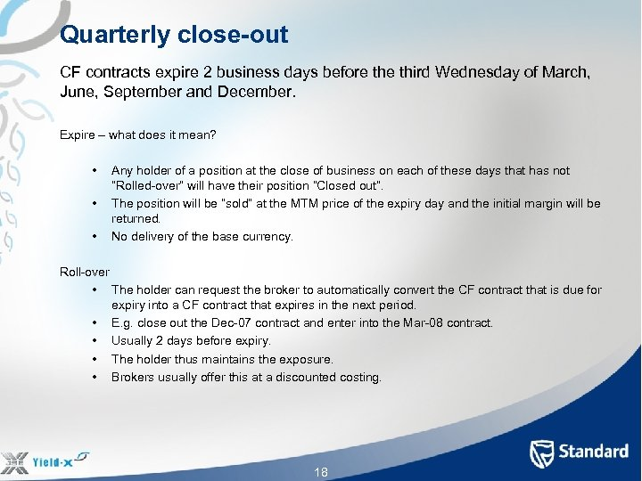 Quarterly close-out CF contracts expire 2 business days before third Wednesday of March, June,