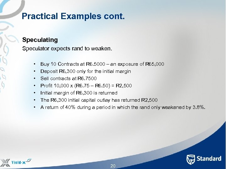 Practical Examples cont. Speculating Speculator expects rand to weaken. • • Buy 10 Contracts