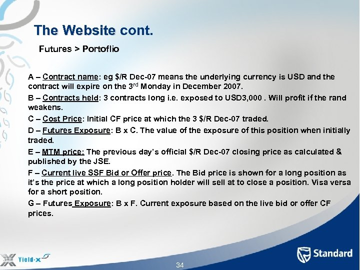The Website cont. The Website Futures > Portoflio A – Contract name: eg