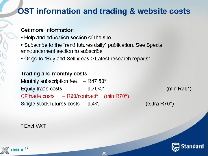 OST information and trading & website costs Get more information • Help and education