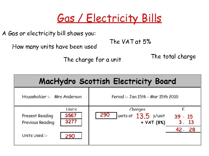 Gas / Electricity Bills A Gas or electricity bill shows you: How many units