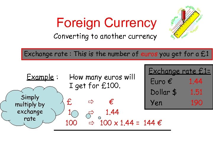 Foreign Currency Converting to another currency Exchange rate : This is the number of