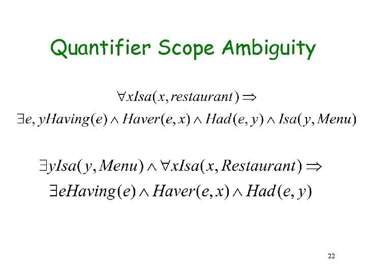 Quantifier Scope Ambiguity 22