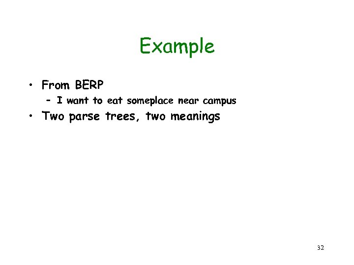 Example • From BERP – I want to eat someplace near campus • Two