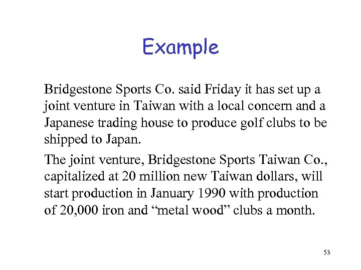 Example Bridgestone Sports Co. said Friday it has set up a joint venture in