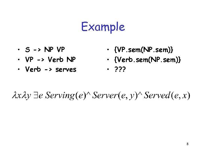 Example • S -> NP VP • VP -> Verb NP • Verb ->