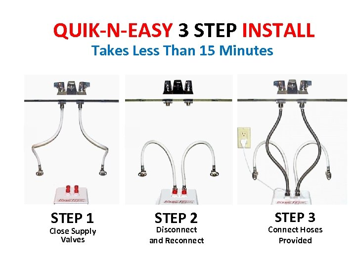 QUIK-N-EASY 3 STEP INSTALL Takes Less Than 15 Minutes STEP 1 Close Supply Valves