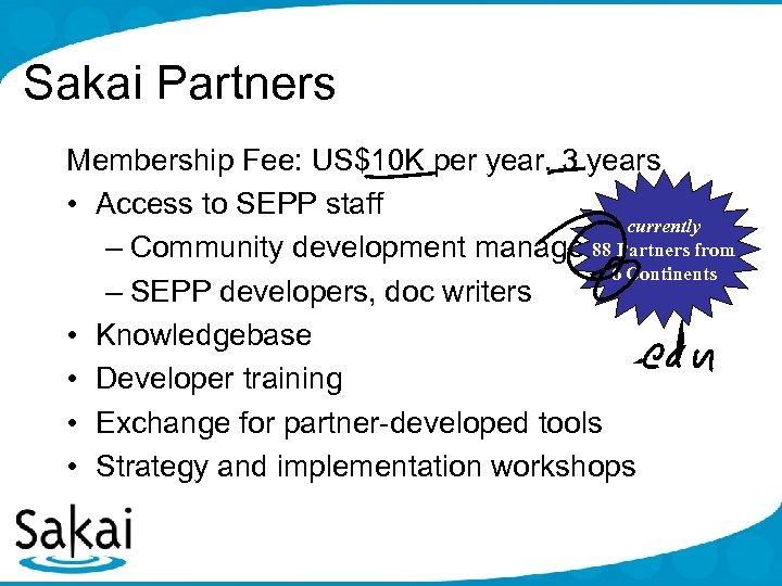 Sakai Partners Membership Fee: US$10 K per year, 3 years • Access to SEPP