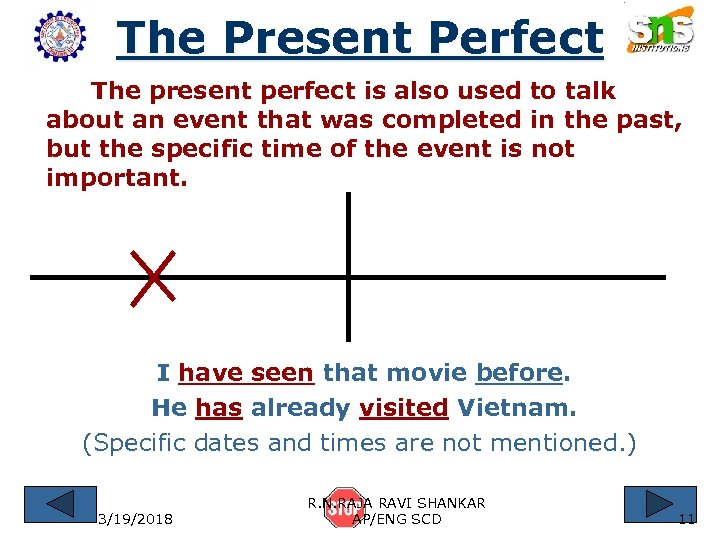 The Present Perfect The present perfect is also used to talk about an event