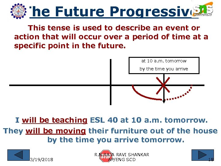 The Future Progressive This tense is used to describe an event or action that