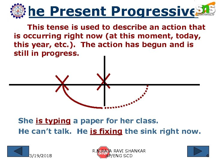 The Present Progressive This tense is used to describe an action that is occurring