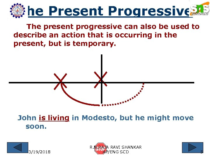 The Present Progressive The present progressive can also be used to describe an action