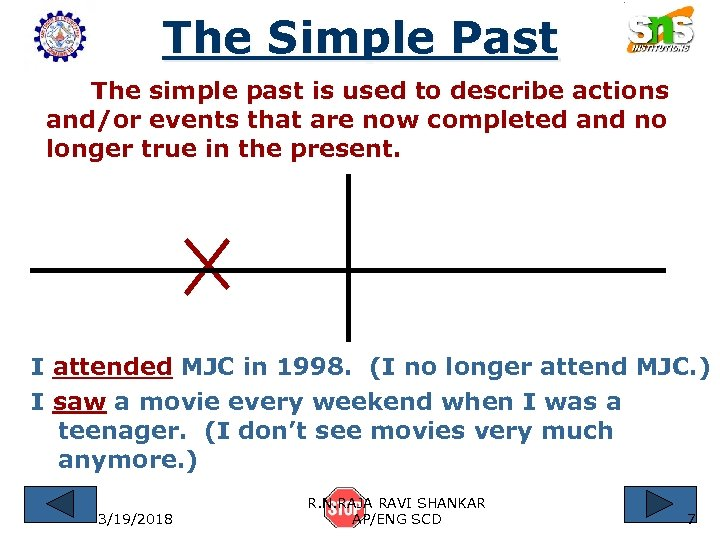 The Simple Past The simple past is used to describe actions and/or events that