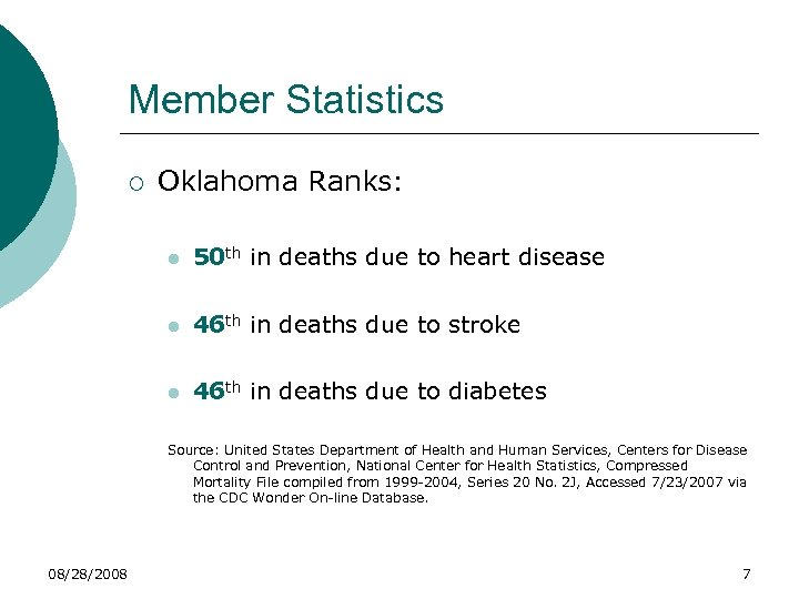 Member Statistics ¡ Oklahoma Ranks: l 50 th in deaths due to heart disease