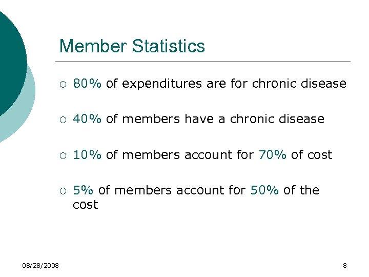 Member Statistics ¡ ¡ 40% of members have a chronic disease ¡ 10% of