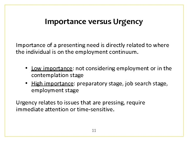 Importance versus Urgency Importance of a presenting need is directly related to where the