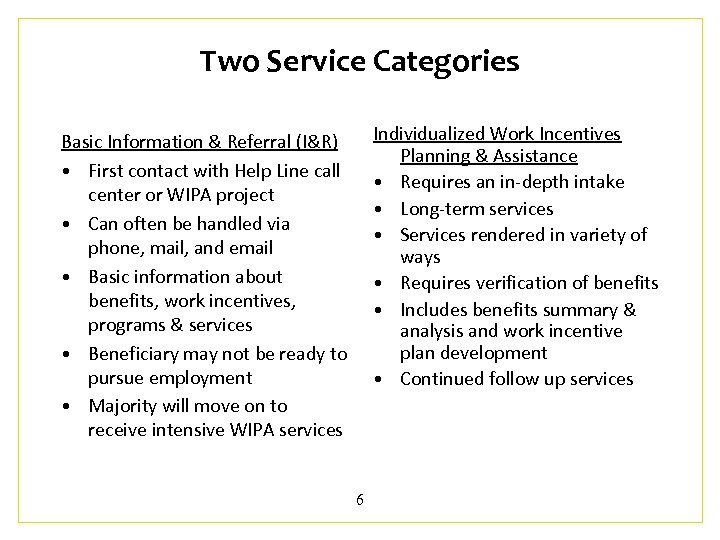 Two Service Categories Individualized Work Incentives Planning & Assistance • Requires an in-depth intake