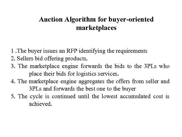 Auction Algorithm for buyer-oriented marketplaces 1. The buyer issues an RFP identifying the requirements