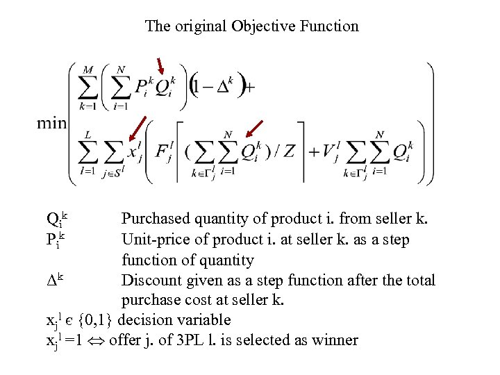 The original Objective Function Qi k Purchased quantity of product i. from seller k.