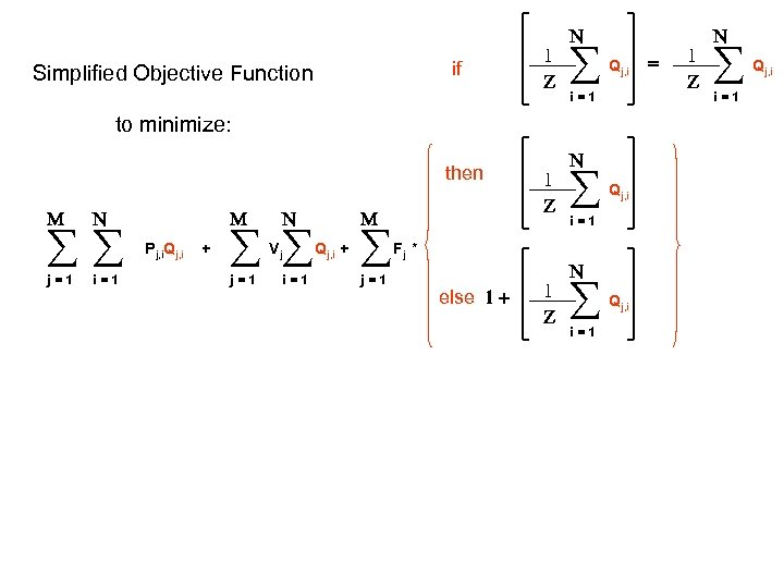if Simplified Objective Function 1 Z N Qj, i i=1 to minimize: then M