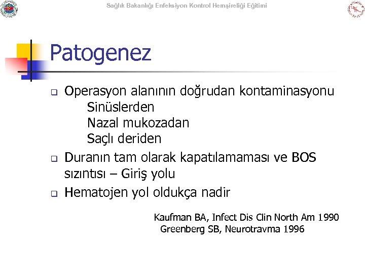 Sağlık Bakanlığı Enfeksiyon Kontrol Hemşireliği Eğitimi Patogenez q q q Operasyon alanının doğrudan kontaminasyonu