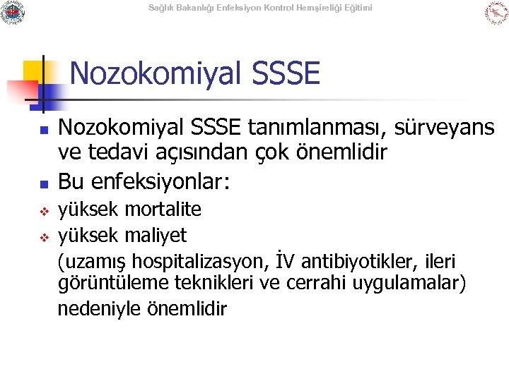 Sağlık Bakanlığı Enfeksiyon Kontrol Hemşireliği Eğitimi Nozokomiyal SSSE n n v v Nozokomiyal SSSE