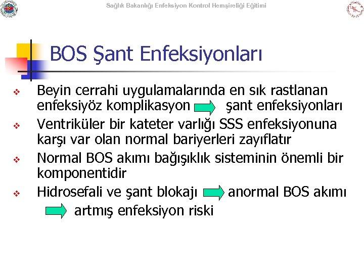 Sağlık Bakanlığı Enfeksiyon Kontrol Hemşireliği Eğitimi BOS Şant Enfeksiyonları v v Beyin cerrahi uygulamalarında