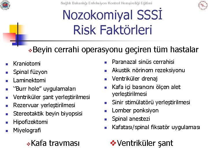 Sağlık Bakanlığı Enfeksiyon Kontrol Hemşireliği Eğitimi Nozokomiyal SSSİ Risk Faktörleri v n n n
