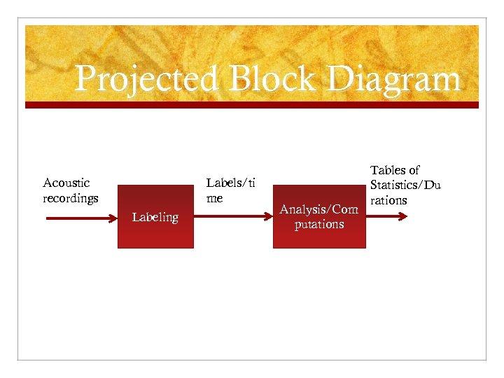 Projected Block Diagram Acoustic recordings Labels/ti me Labeling Analysis/Com putations Tables of Statistics/Du rations