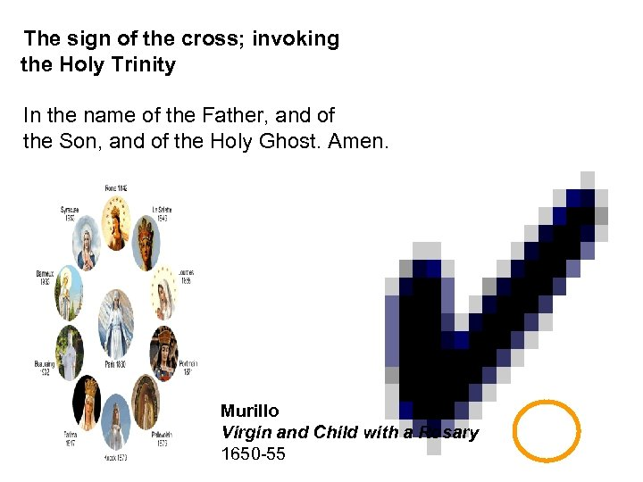 The sign of the cross; invoking the Holy Trinity In the name of the