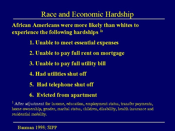 Race and Economic Hardship African Americans were more likely than whites to experience the