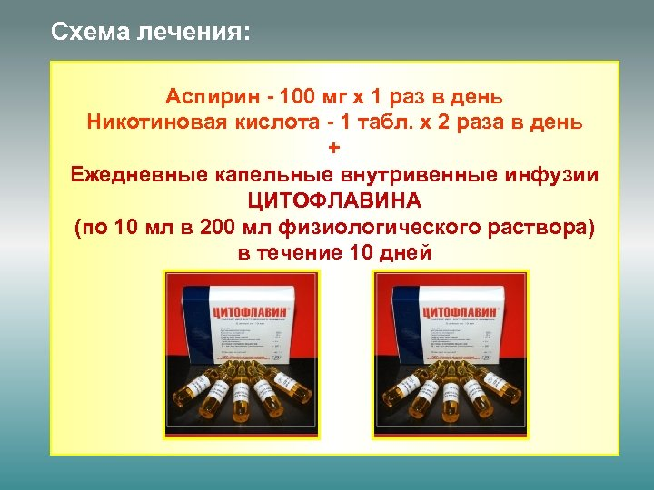 Схема лечения: Аспирин - 100 мг х 1 раз в день Никотиновая кислота -