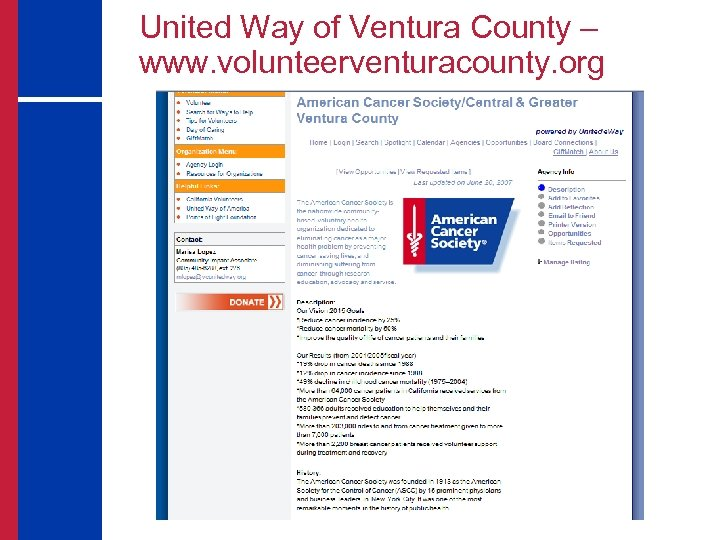 United Way of Ventura County – www. volunteerventuracounty. org