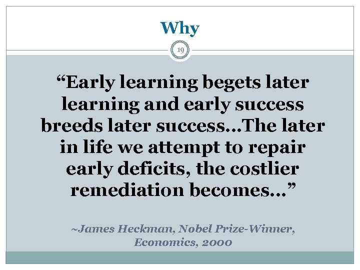 "Why 19 ""Early learning begets later learning and early success breeds later success…The later"