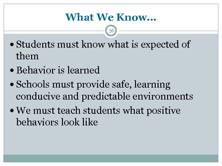 What We Know… 36 Students must know what is expected of them Behavior is