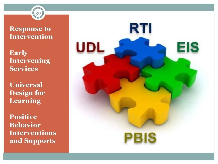 39 Response to Intervention Early Intervening Services Universal Design for Learning Positive Behavior Interventions