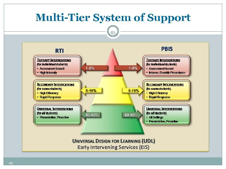 Multi-Tier System of Support 45 Early Intervening Services (EIS) 45