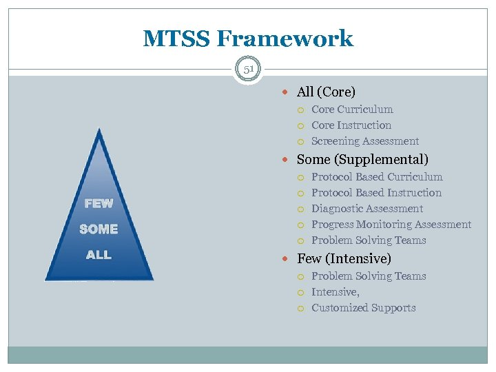 MTSS Framework 51 All (Core) Core Curriculum Core Instruction Screening Assessment Some (Supplemental) Protocol