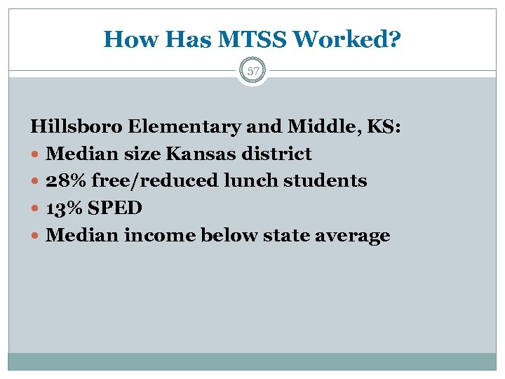 How Has MTSS Worked? 57 Hillsboro Elementary and Middle, KS: Median size Kansas district