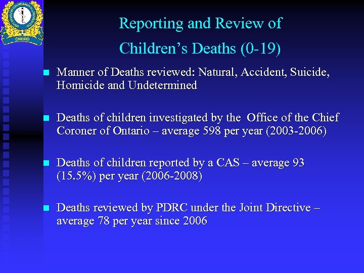Reporting and Review of Children's Deaths (0 -19) n Manner of Deaths reviewed: Natural,