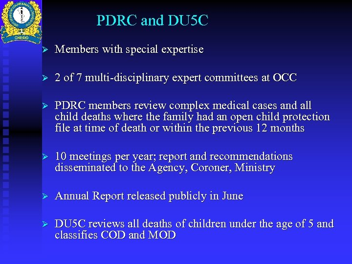 PDRC and DU 5 C Ø Members with special expertise Ø 2 of 7