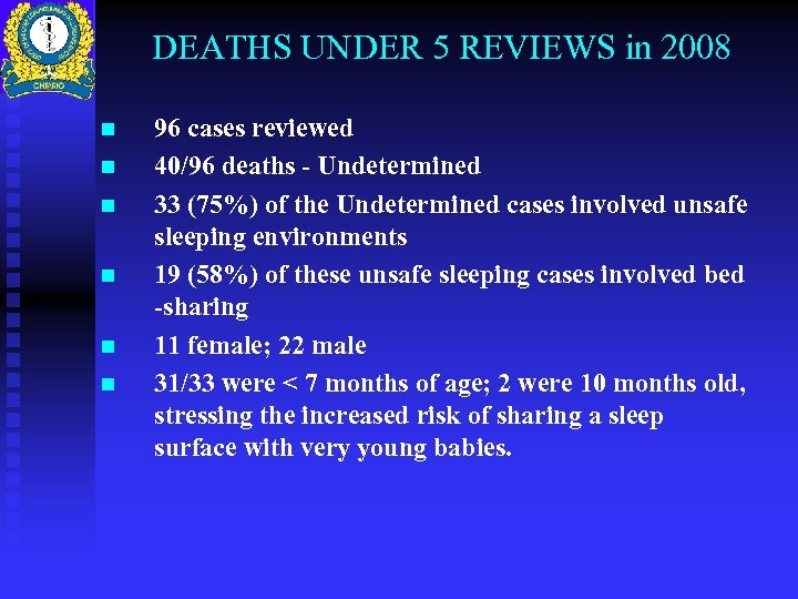 DEATHS UNDER 5 REVIEWS in 2008 n n n 96 cases reviewed 40/96 deaths