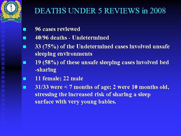 DEATHS UNDER 5 REVIEWS in 2008 n n n 96 cases reviewed 40/96 deaths