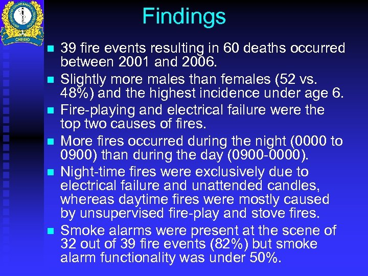 Findings n n n 39 fire events resulting in 60 deaths occurred between 2001