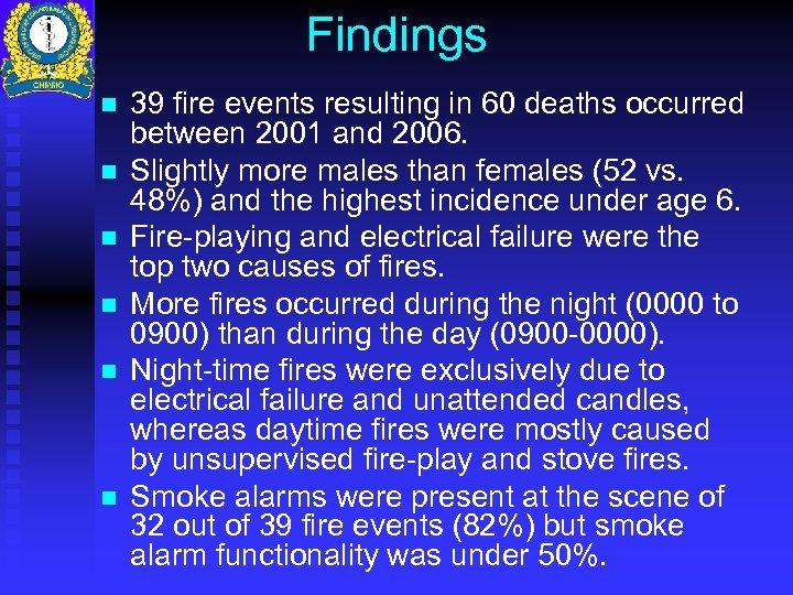Findings n n n 39 fire events resulting in 60 deaths occurred between 2001