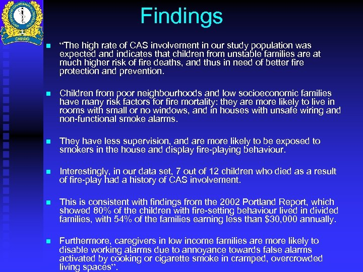 """Findings n """"The high rate of CAS involvement in our study population was expected"""
