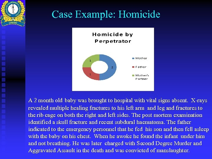 Case Example: Homicide A 2 month old baby was brought to hospital with vital
