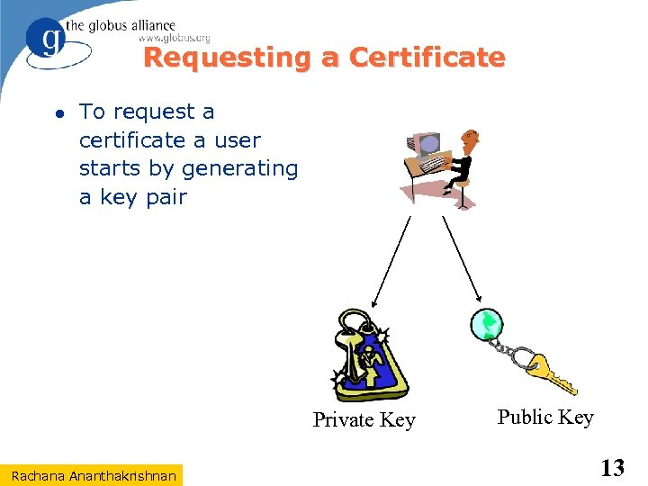 Requesting a Certificate To request a certificate a user starts by generating a key